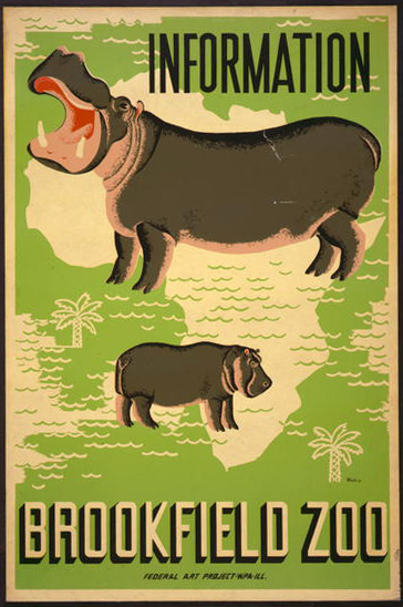 animal poster, wildlife, wpa, federal art project, vintage, vintage posters, graphic design, free download, classic posters, retro prints, Information Brookfield Zoo, Federal Art Project - Vintage Animal Poster