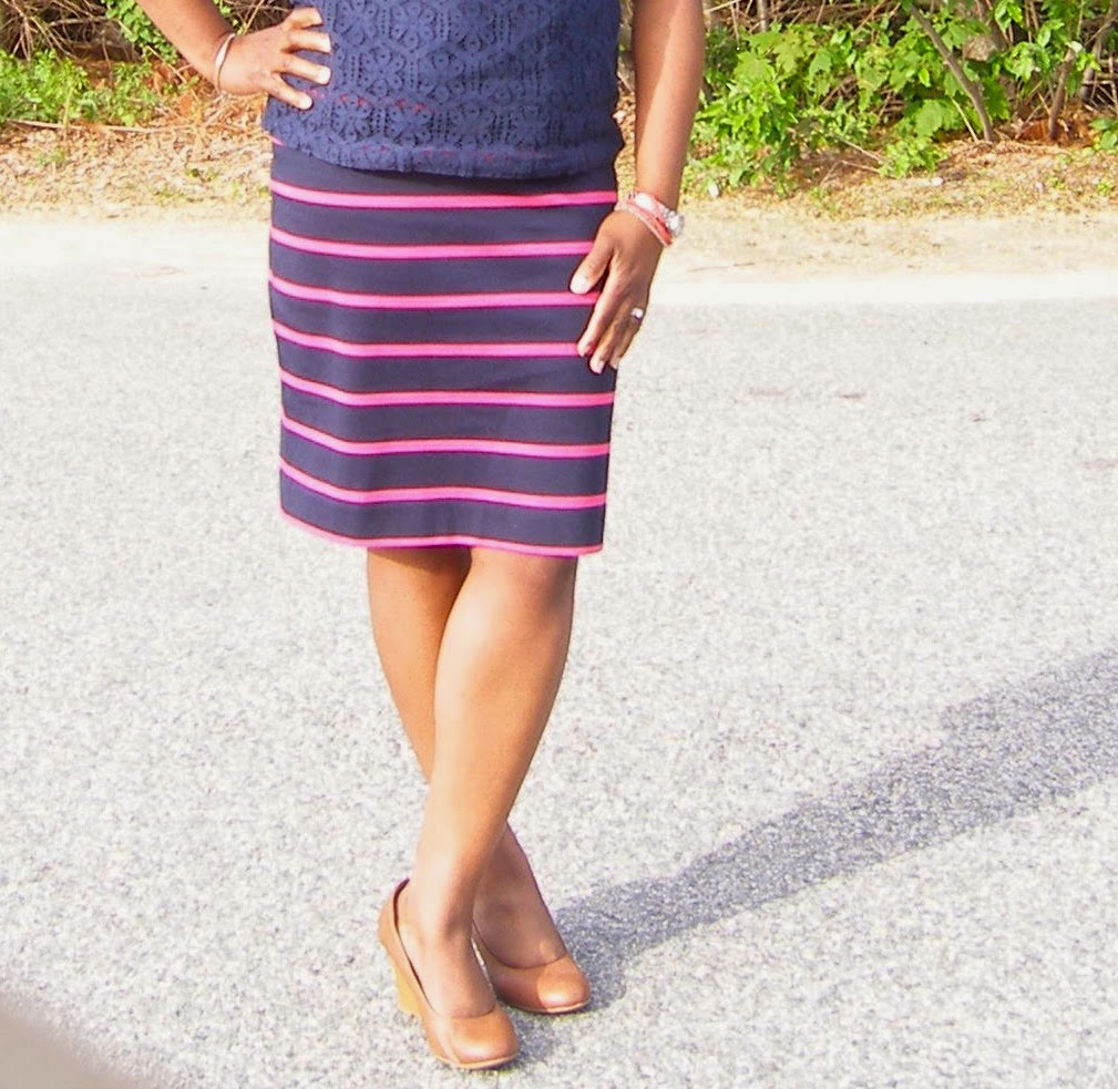 Striped skirt The Limited, Payless pumps, Brown wedge pumps for work
