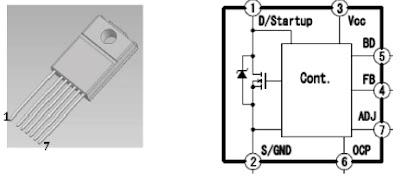 Hình 24 - Sơ đồ chân IC công suất STR- Y6400