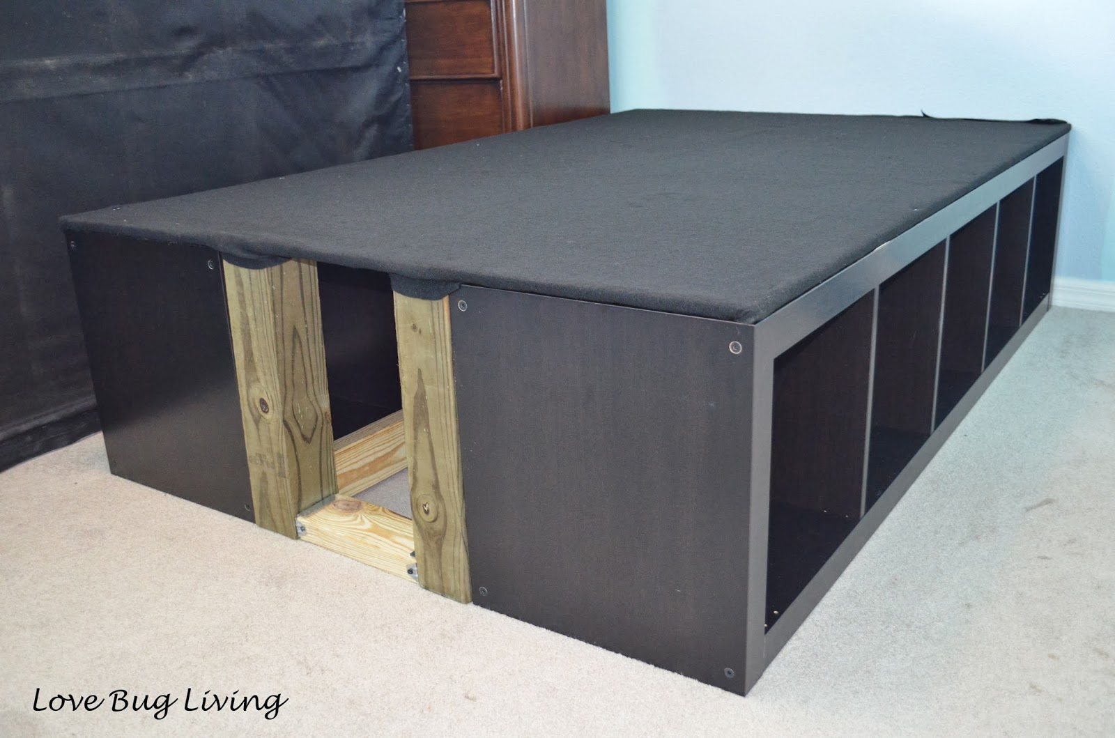 love bug living ikea expedit hack platform bed. Black Bedroom Furniture Sets. Home Design Ideas