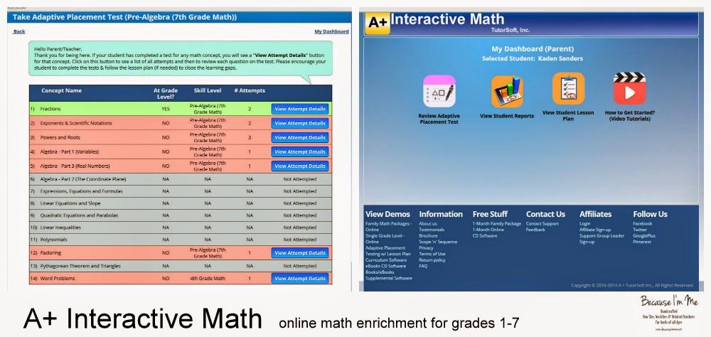 A+ Interactive Math online math enrichment review at Because I'm Me