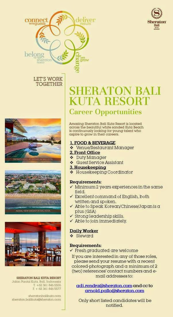 Job Vacancy February 2015 at Sheraton Bali Kuta Resort
