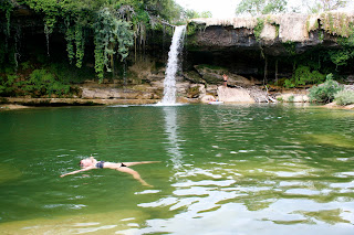 floating, waterfall, lake, swimming in a lake, Spain, Frias, Burgos,
