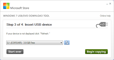 Windows 7 USB/DVD Download Tool configuration