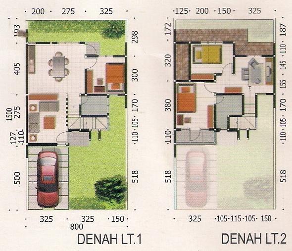 rumahku 1 contoh denah rumah minimalis type 97 120