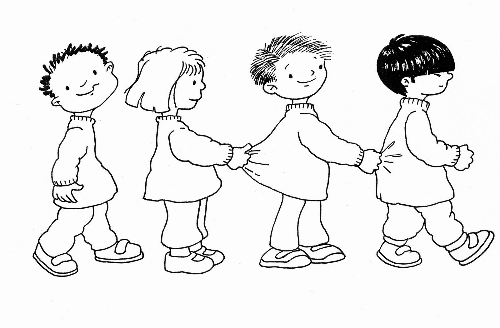 Niños en fila para colorear | Dibujos para Colorear Infantil
