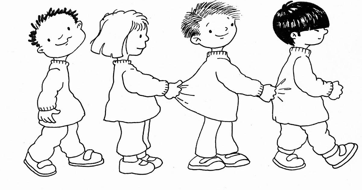 Niños en fila para colorear ~ Dibujos para Colorear Infantil