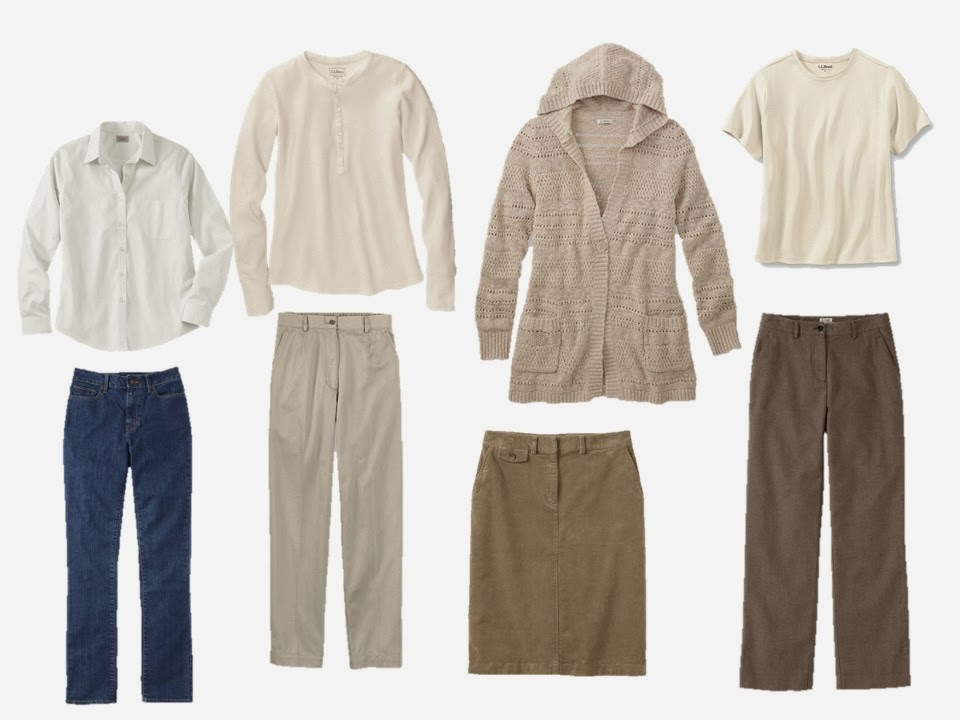 eight piece warm neutral travel or capsule wardrobe