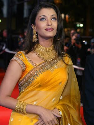 Aishwarya Rai Cannes in Yellow Saree