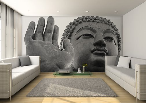 Enlightened buddha wallpaper design for your living room for Buddha wall mural