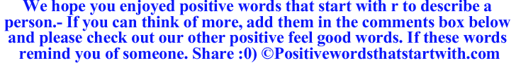 Image of Positive words that start with r to describe a person