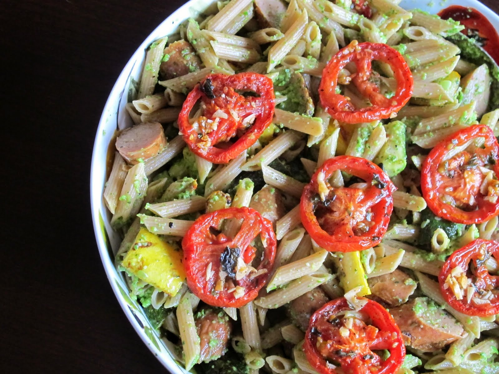 ... Grilled Veggie Pasta with Slow Roasted Tomatoes and Garlic Scape Pesto