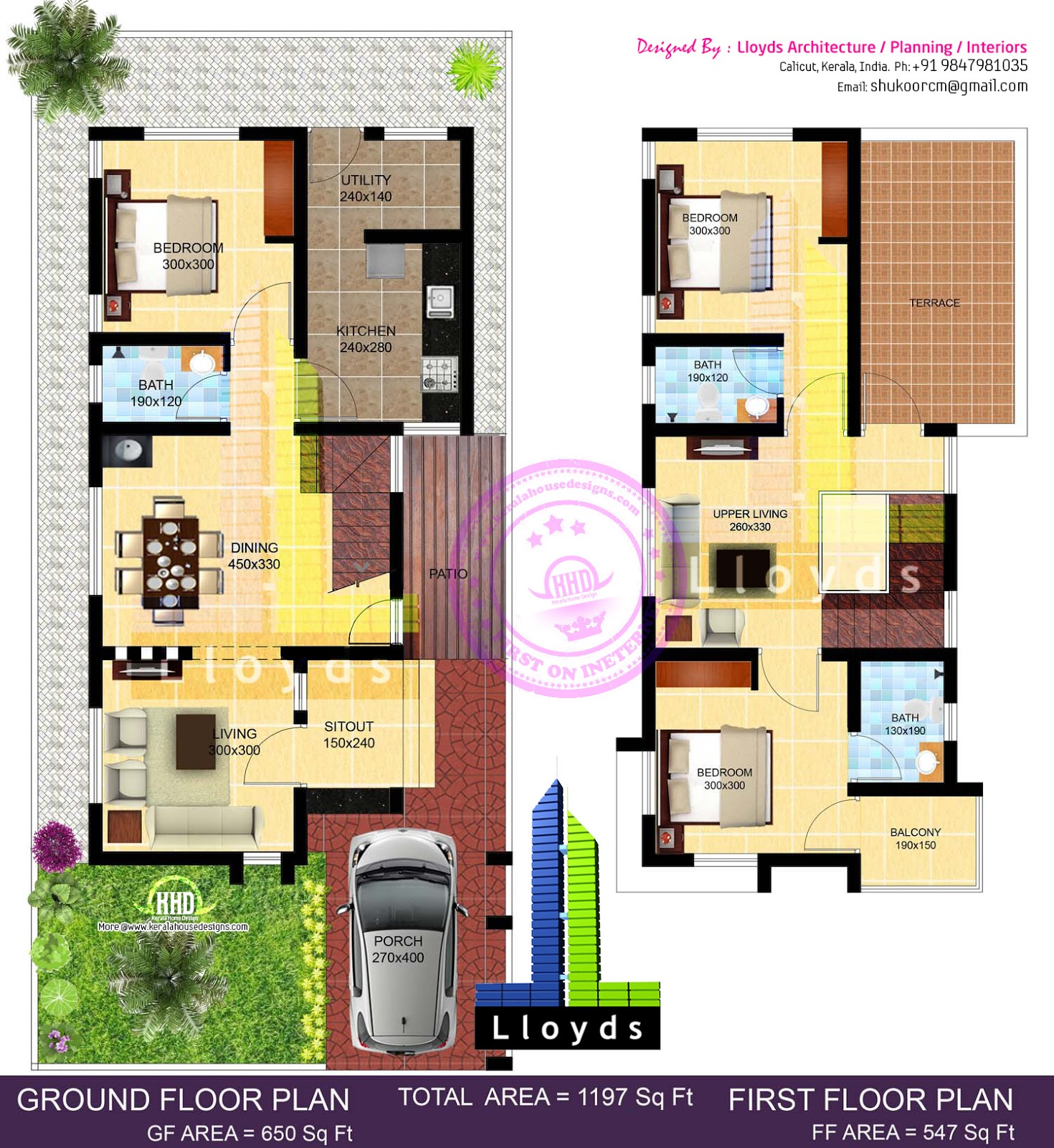 ... floor plan and elevation, Contact (Home design in Calicut [Kozhikode