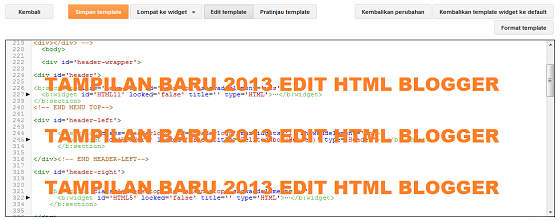 Tampilan Baru 2013 Edit HTML Blogger