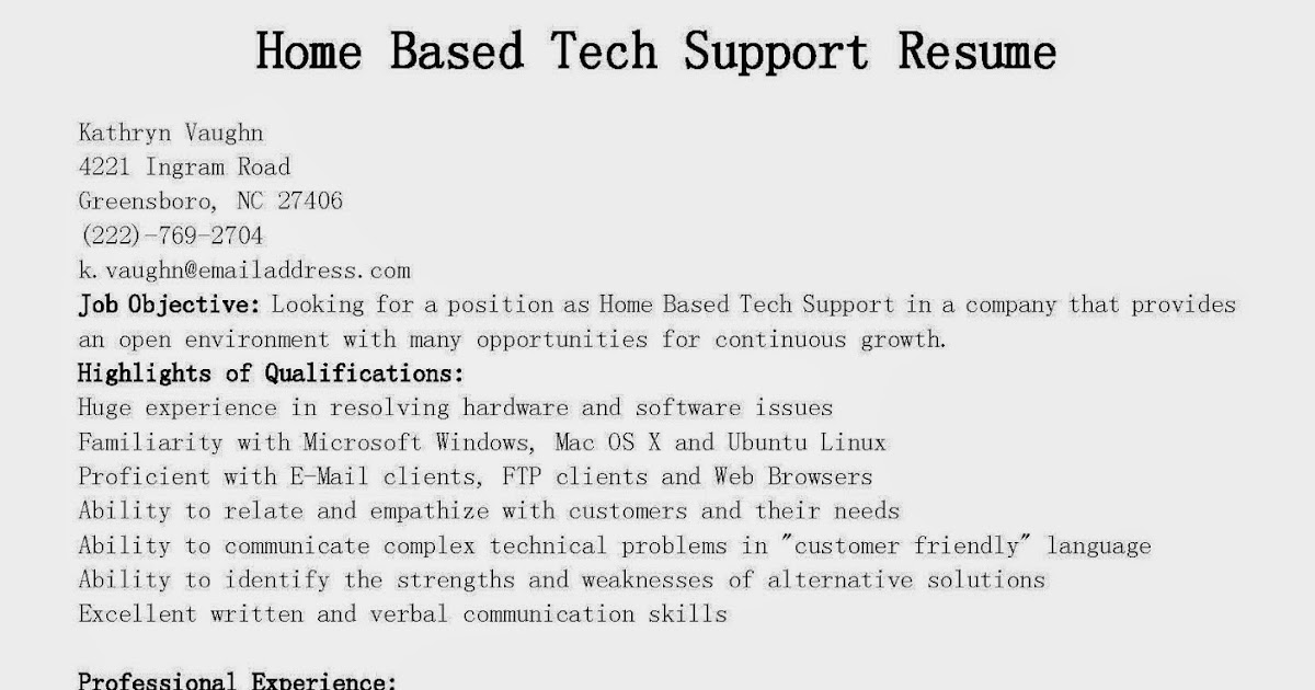 Sample resume tech support