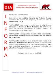 C.T.A. INFORMA CRÉDITO HORARIO ANTONIO PÉREZ, FEBRERO 2019