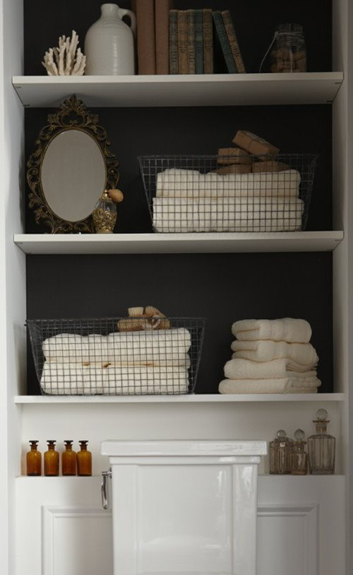 clever bathroom storage content in a cottage