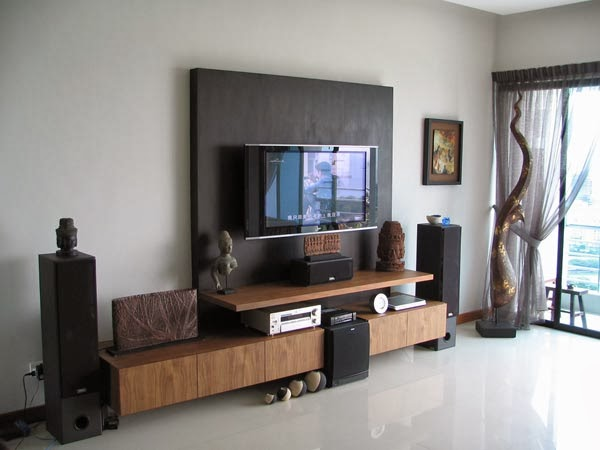 Tv wall decoration in the living room design options for Apartment wall decorating ideas