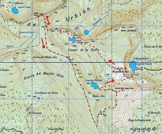Mapa de la subida al Urbión desde la laguna negra