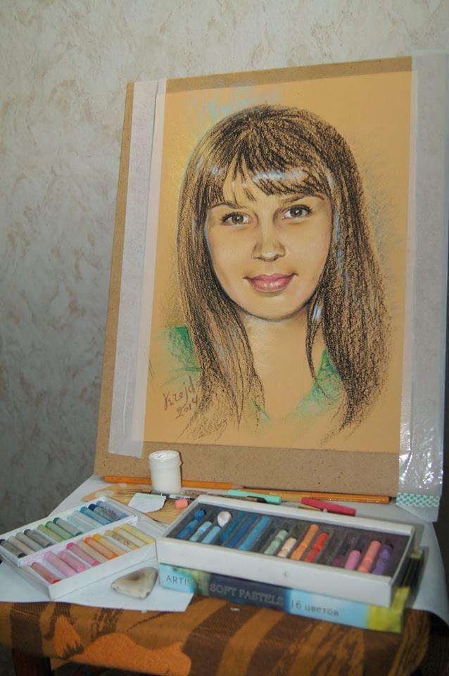рисунок пастелью, портрет