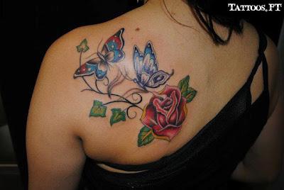 Tatuagens Boroboleta e rosa nas costas
