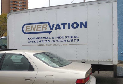 White box truck with logo reading ENERVATION