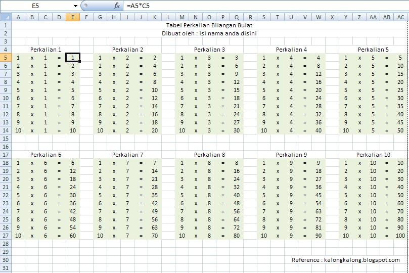 tabel perkalian 1 sampai 100
