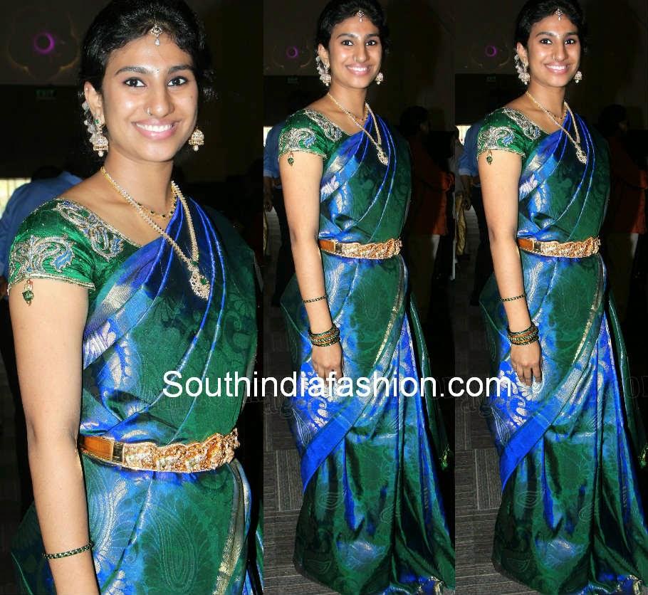 peacock color bridal saree