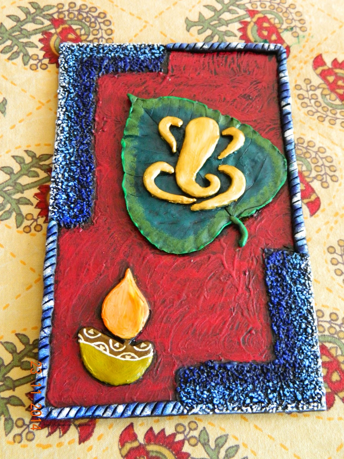 Mural art ganesha on leaf yellow craft for Arts and crafts mural