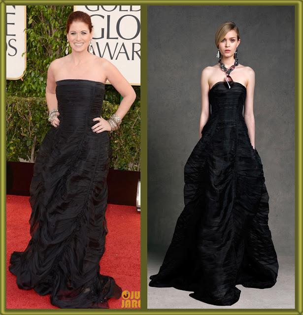 a filha do chefe debra messing black dress golden globes 2013