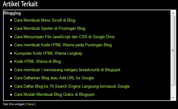 Cara Membuat Related Post / Artikel Terkait di Bawah Postingan Blog