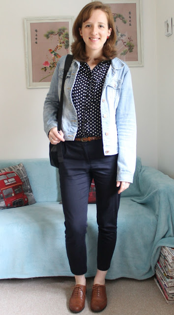 OOTD: Spotty Shirt and Mannish Tailoring New Look Primark Clarks ASOS Fashion Blogger Work Outfit