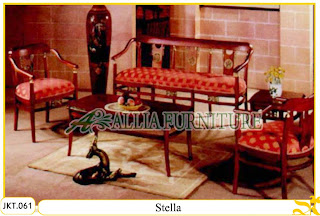 Set Meja dan Kursi Tamu Ukiran Kayu Jati Stella