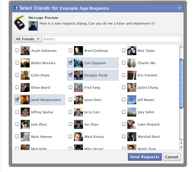 To send request via multi friend selector in facebook for your apps