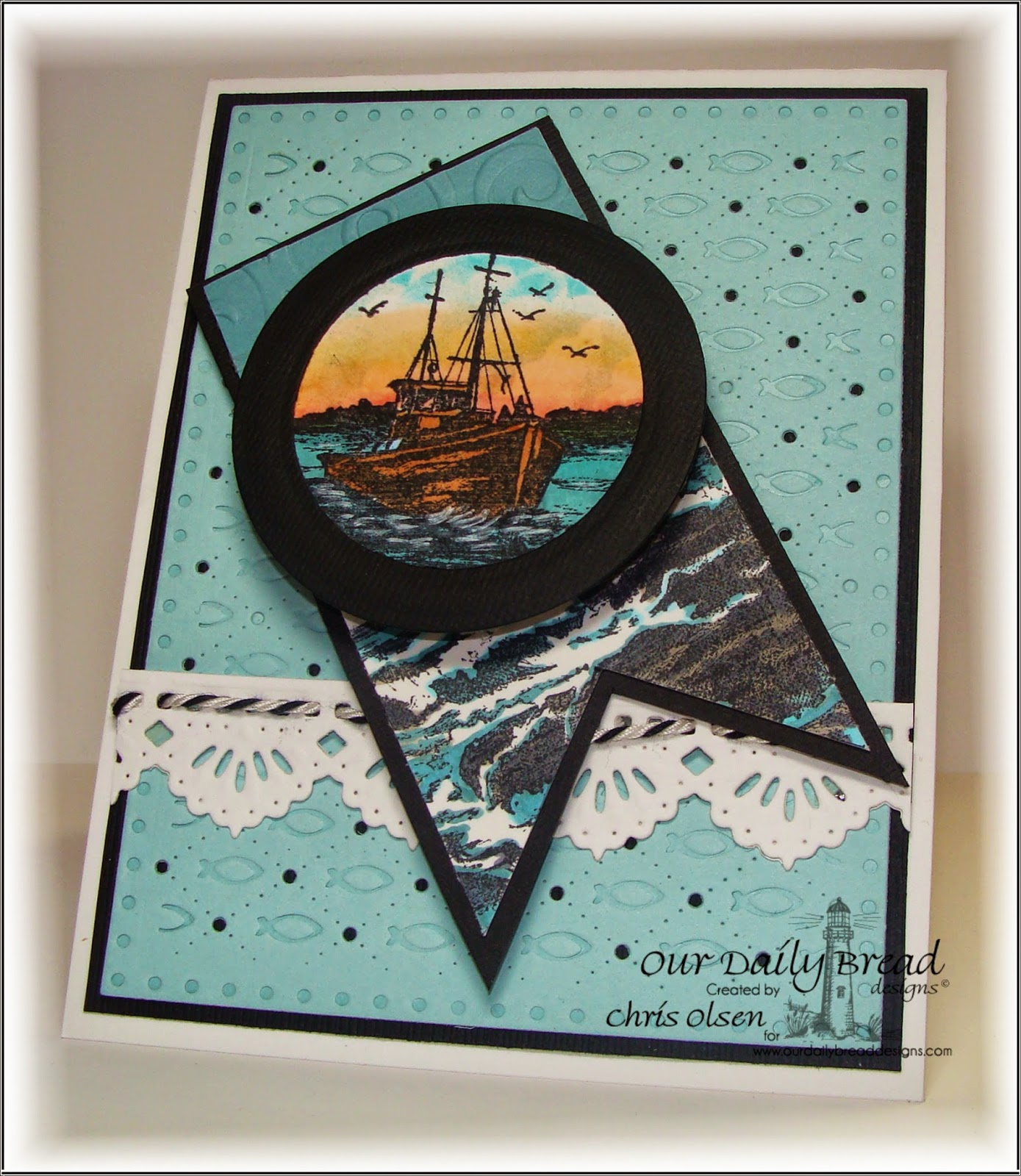 Our Daily Bread Designs, Waves on the Sea, The Mighty Sea, Matting Circle Dies, Circle Ornament dies, Beautiful Borders, designed by Chris Olsen