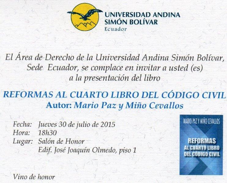Club Kiwanis Quito: Presentación del libro, Reformas al Cuarto Libro ...