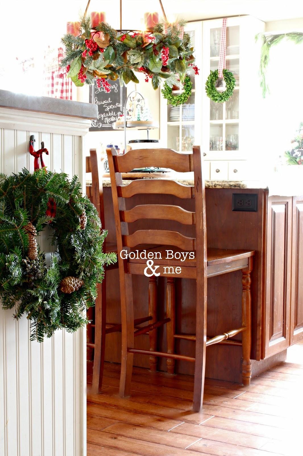 Candle chandelier over kitchen island-www.goldenboysandme.com