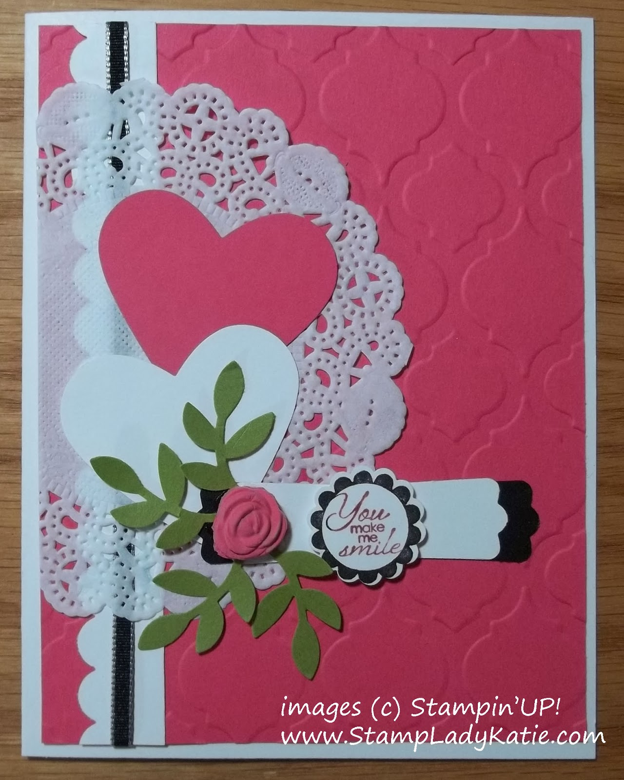 Valentine Card with Stampin'UP! Doily and Polymer Clay