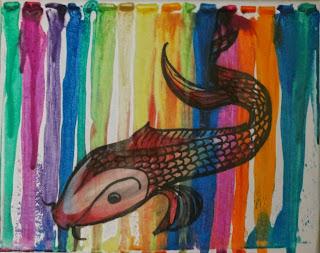 koi crayon drip art