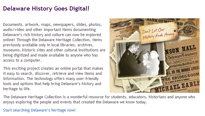 Delaware Heritage Collection homepage