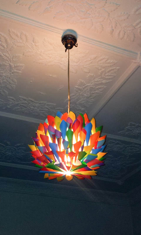 The art of up cycling how to make a lamp shade funky for Hanging lights for kids room