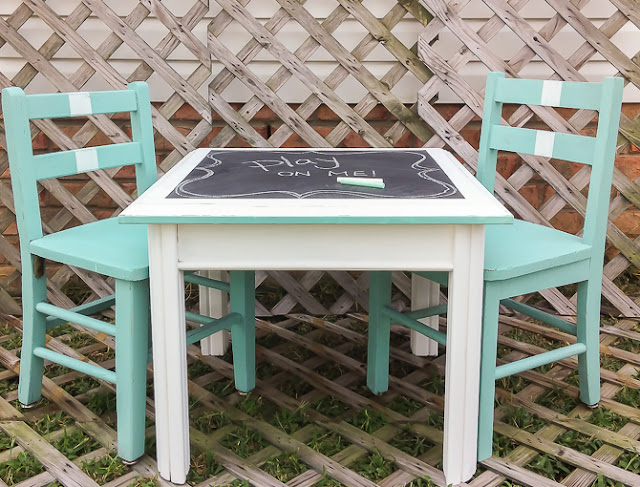 painted blackboard table for kids
