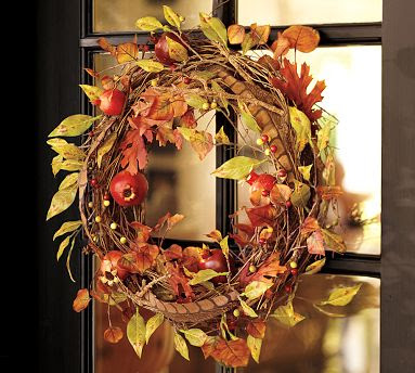 fall wreath with leaves