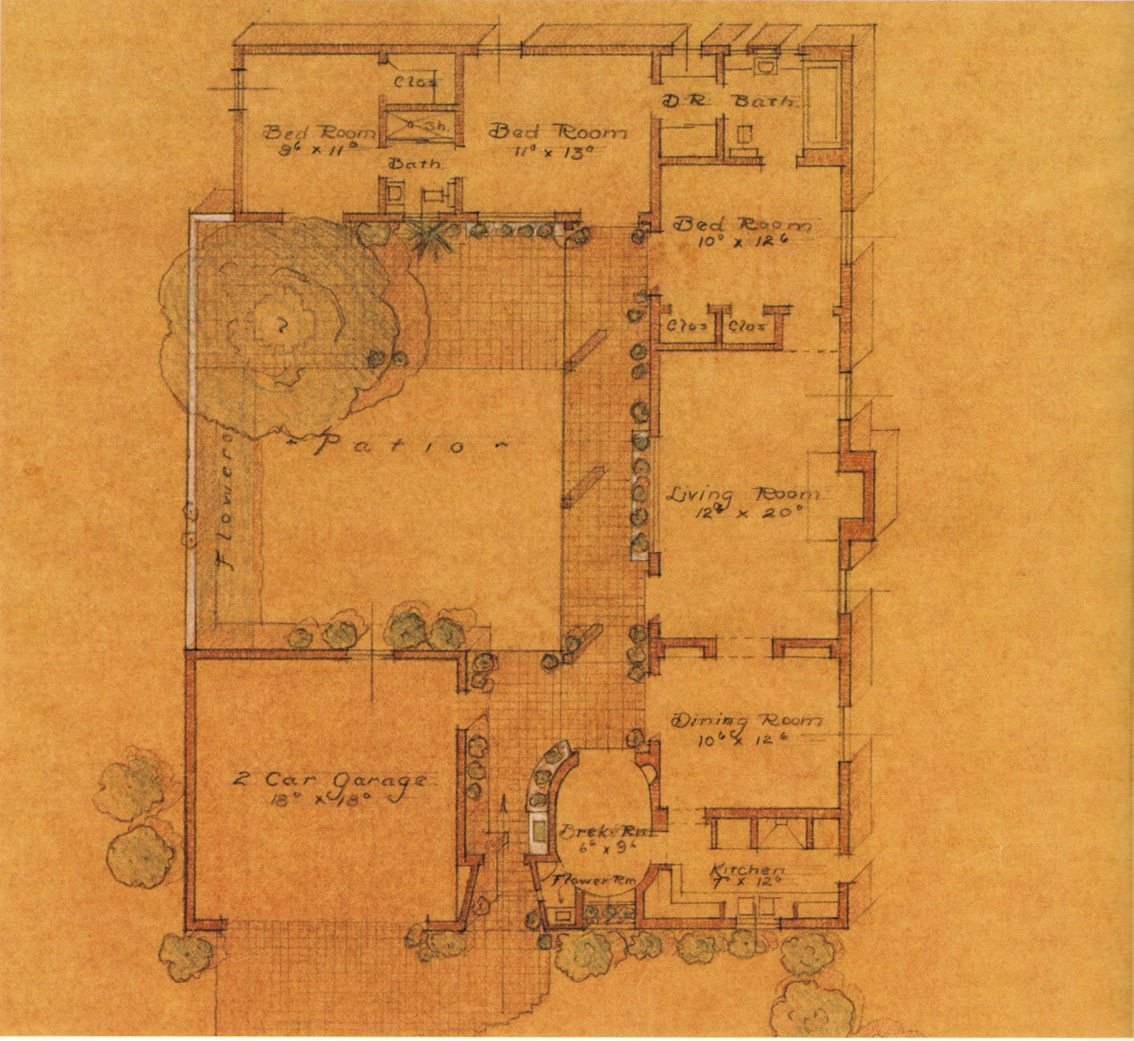 Charming Referring Back To The Sketch Of A 1932 Cliff May Spec House, Here Is The Floor  Plan: