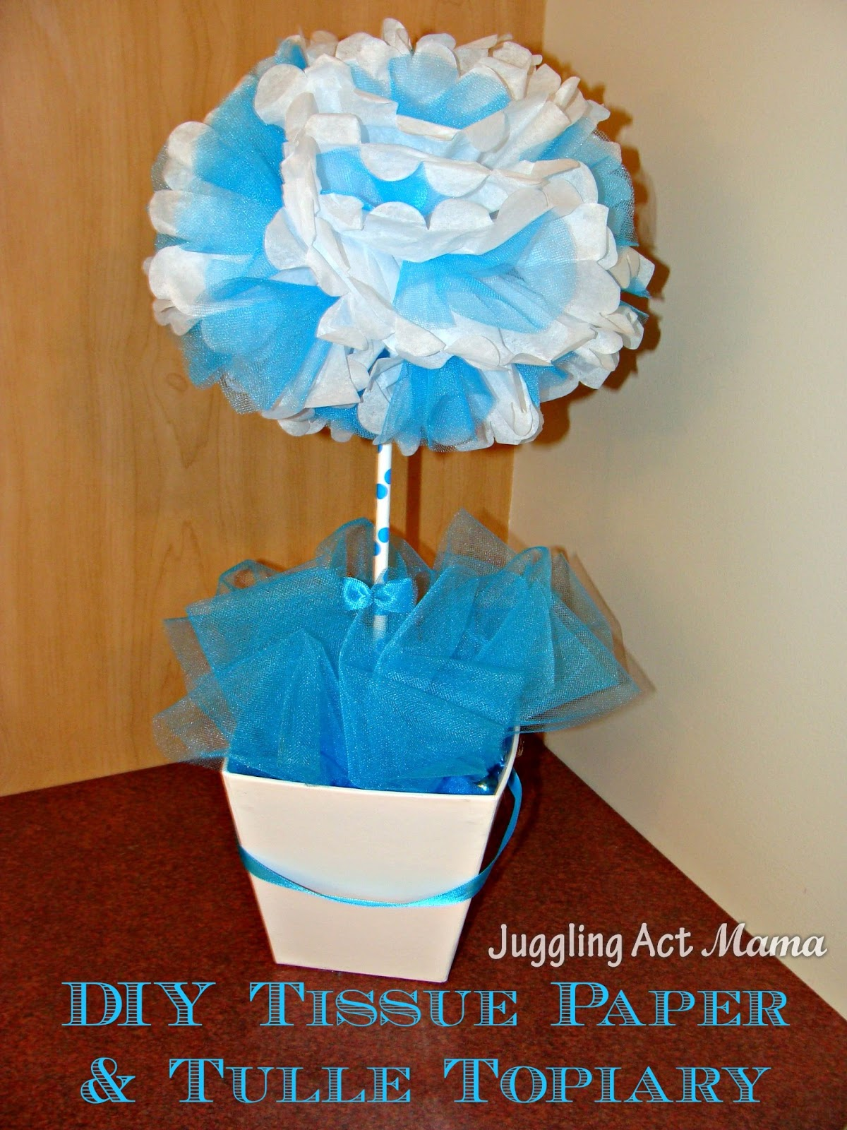 Diy tissue paper tulle topiary juggling act mama diy tissue paper tulle topiary mightylinksfo