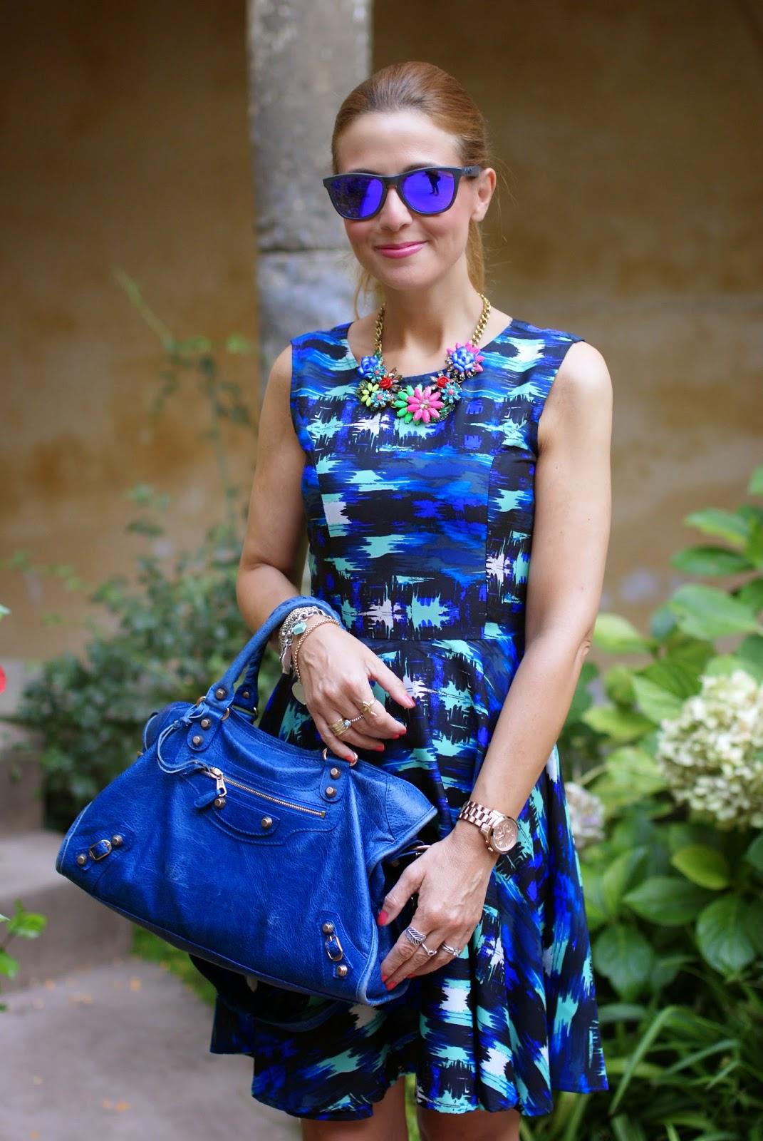 Liquorish dress, skater dress, Balenciaga City blue, Fashion and Cookies, fashion blogger