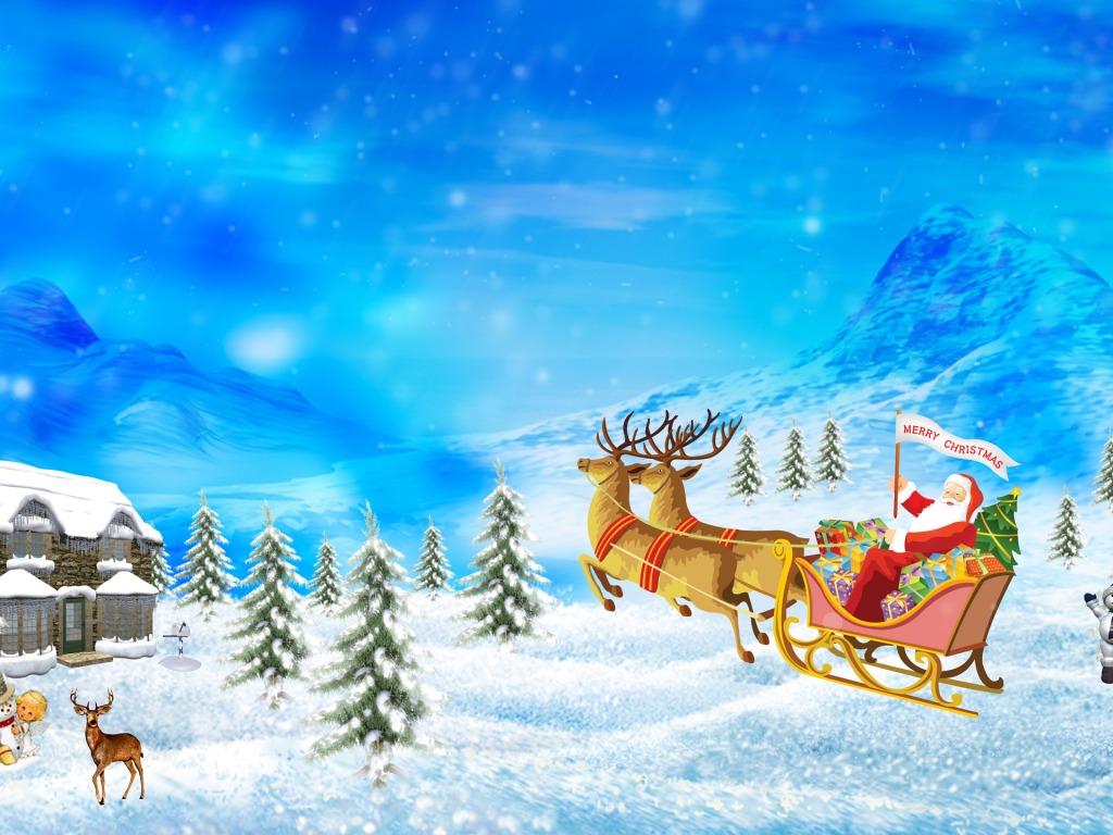 Free Wallpapers For Desktop Santa Claus Congratulates You Merry