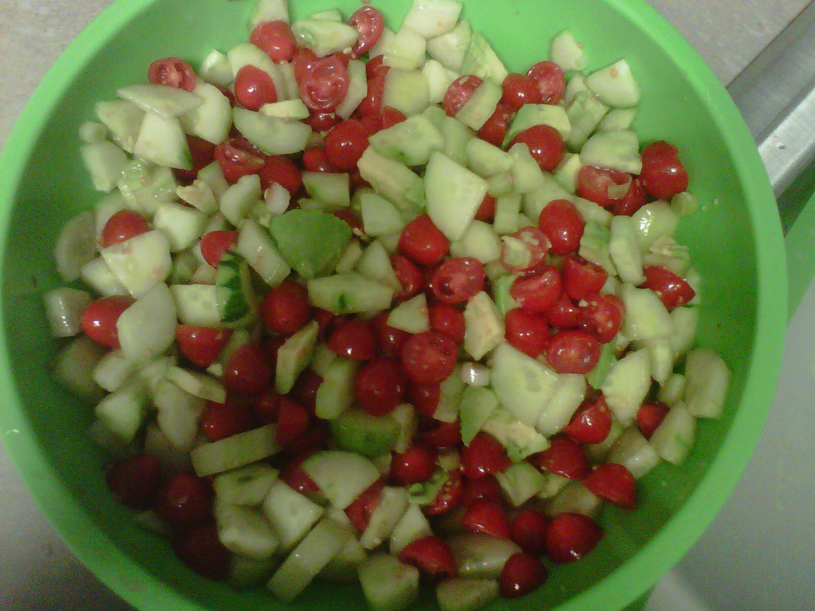 Israeli Salad: combine equal parts tomato and cucumber (I also added ...