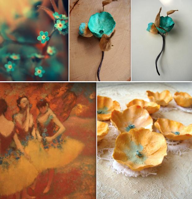 boutonniere e collana di pizzo e fiori di carta arancio e verde per matrimonio eco friendly