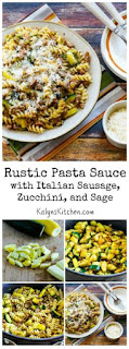 Rustic Pasta Sauce Recipe with Italian Sausage, Zucchini, and Sage [from KalynsKitchen.com]
